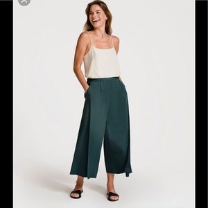 Grana Split Front Culottes in Forest Green
